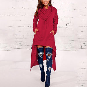 Fashion Solid Color Long Hoodie-hoodie-PMS-Claret Red-s-Gofiala