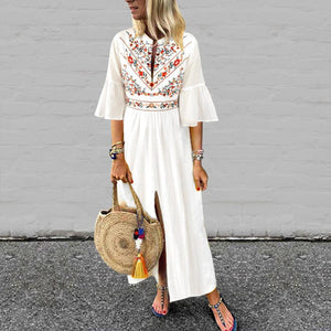 V-Neck Cotton/Linen Printed Dress-Vacation Dress-PMS-White-s-Gofiala