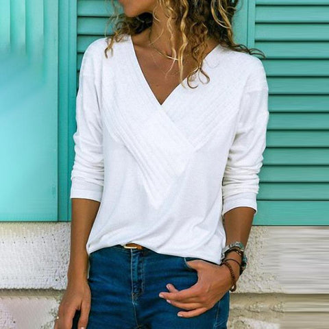 Brief V Neck Long Sleeve Plain Casual T-Shirts-Blouse-PMS-White-xs-Gofiala