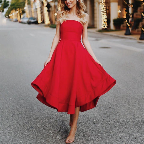 Sexy Red Sleeveless Skater Dress Maxi Dress Evening Dress-Evening Dress-PMS-Red-s-Gofiala