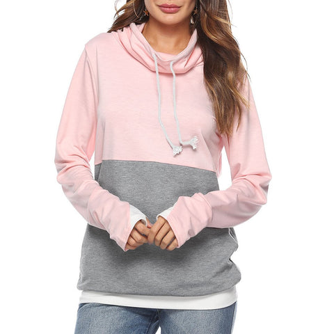 Long Sleeve Stitching Hoodless Sweater-Hoodie-PMS-Pink-s-Gofiala