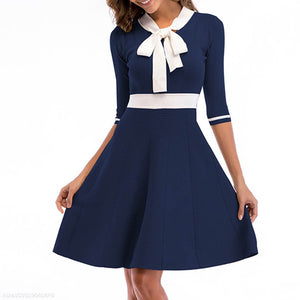 Fashion Bow-Sleeve Knit Dress-Skater Dress-PMS-Royal Blue-m-Gofiala