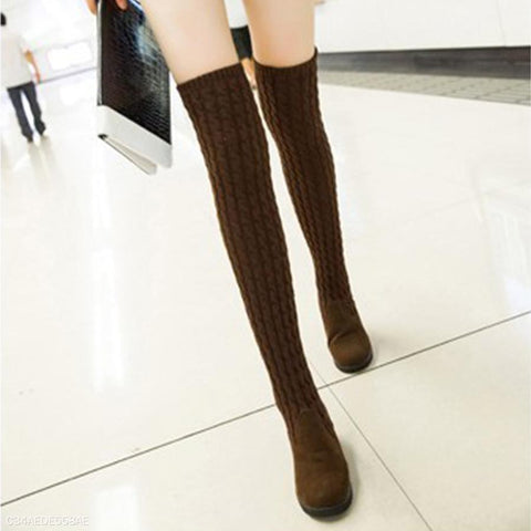 Plain Mid Heeled Velvet Woolen Round Toe Casual Date Thigh High High Heels Boots-Boot-PMS-Brown-us5-Gofiala