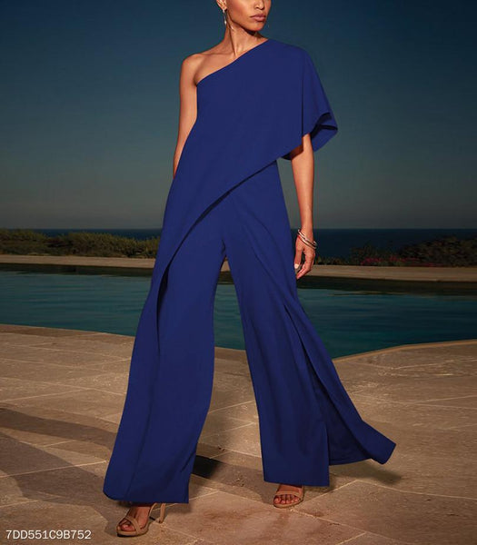 Sexy Single Shoulder Pure Color High-Waisted Wide-Legged Jumpsuit-Jumpsuit-PMS-Blue-s-Gofiala