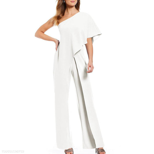 Sexy Single Shoulder Pure Color High-Waisted Wide-Legged Jumpsuit-Jumpsuit-PMS-White-s-Gofiala