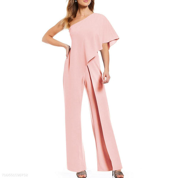 Sexy Single Shoulder Pure Color High-Waisted Wide-Legged Jumpsuit-Jumpsuit-PMS-Pink-s-Gofiala