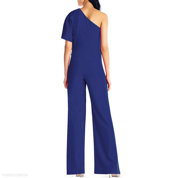 Sexy Single Shoulder Pure Color High-Waisted Wide-Legged Jumpsuit-Jumpsuit-PMS-Black-s-Gofiala