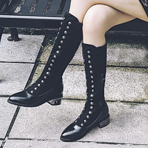 Women's Leather Winter Boots Knee Highboots-Boot-PMS-Black-us4-Gofiala