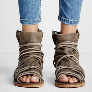 Open Toe Casual Sandals-Flat-PMS-Brown-34-Gofiala