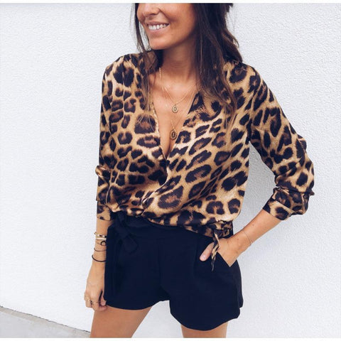 Casual Sexy Leopard V-Neck Long-Sleeved Top-Shirt-PMS-Brown-s-Gofiala