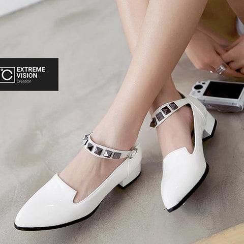 Rivets With Thick Shoes-Pump-PMS-White-34-Gofiala