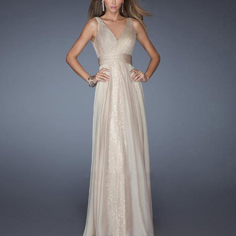 Sexy V Neck Bare Back Evening Dress-Evening Dress & Maxi Dress-PMS-Beige-s-Gofiala