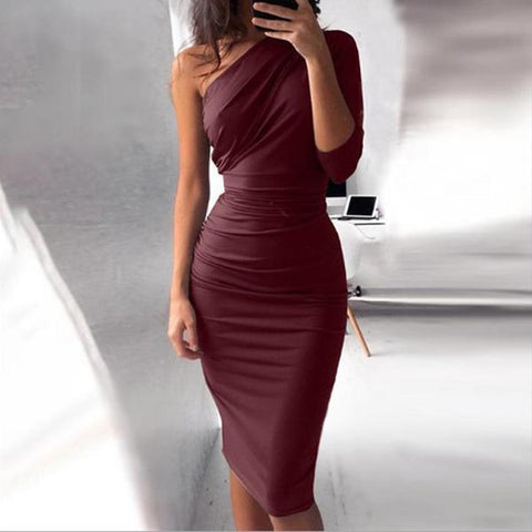 Sexy Slanted Shoulder Bodycon Dress-Bodycon Dress-PMS-Claret-s-Gofiala
