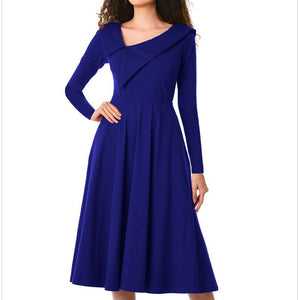 Ruffled Asymmetrical Diagonal Collar Long Sleeve High Waist Pocket Dress-skater dress-PMS-Blue-s-Gofiala