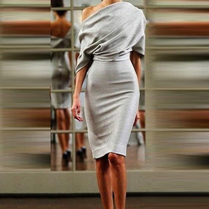Sexy Off Shoulder Backless Bodycon Dress-Bodycon Dress-PMS-Silver-s-Gofiala