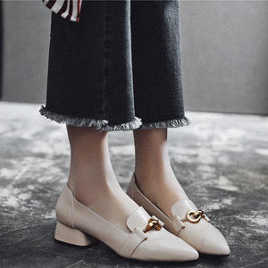 Casual Square Heel Leather Pumps Fashion Simple Shoes-Pump-PMS-Beige-35-Gofiala
