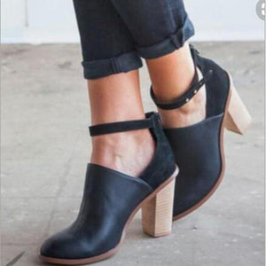 Buckle Leather Pumps Square High Heel Fashion Shoes-Pump-PMS-Black-35-Gofiala