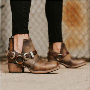 Casual Square Heel Fashion Buckle Pointed Head Shoes-boot-PMS-Brown-us5-Gofiala