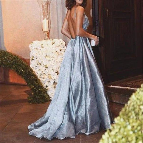 Deep V Strapless Backless Sexy Dress-Evening Dress & Maxi Dress-PMS-Light Blue-s-Gofiala