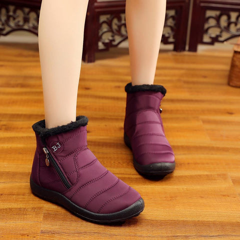Snow Boots Female Tube Thick Plush Waterproof Cotton Boots Side Zipper Cotton Boots-Boot-PMS-Red-35-Gofiala