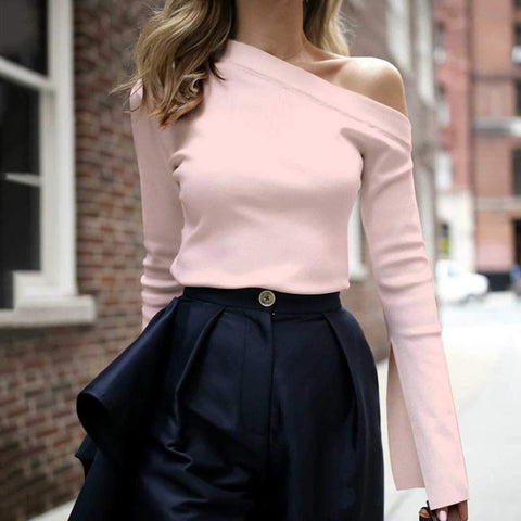 Fashion Pure Color Single Shoulder Long-Sleeved Shirt Top-Blouse-PMS-Pink-s-Gofiala