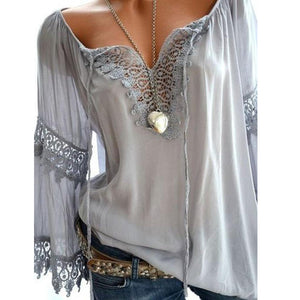 Autumn Spring Cotton Women Tie Collar Decorative Lace Hollow Out Plain Long Sleeve Blouses-Blouse-PMS-Gray-s-Gofiala
