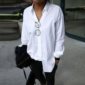 Casual Loose Women White Shirts Fashion Blouse Tops Streetwear-Shirt-PMS-White-m-Gofiala
