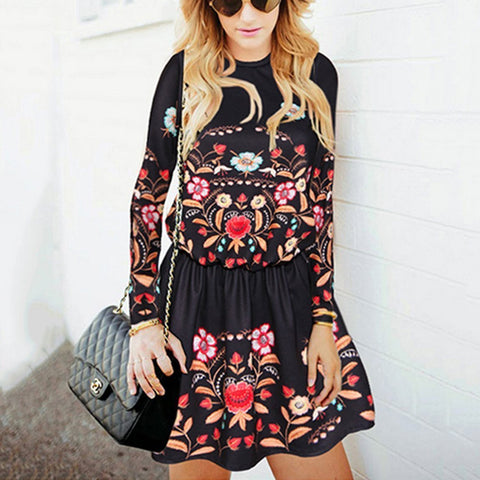 Casual Retro Fashion Slim Embroidery Long Sleeve Skater Dress-skater dress-PMS-Black-s-Gofiala