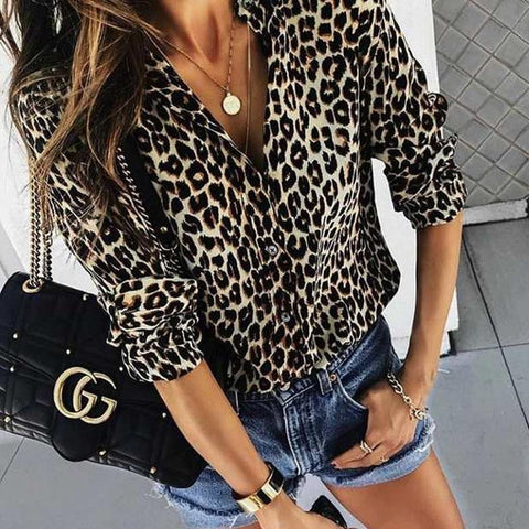 Fashion Leopard Print Long-Sleeved Blouses-Blouse-PMS-Brown Leopard Print-s-Gofiala