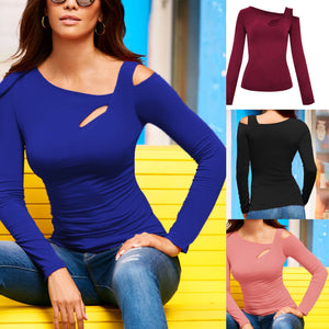 Casual Hollow Long Sleeve Slim Shirts In Autumn-T-shirt-PMS-Blue-s-Gofiala