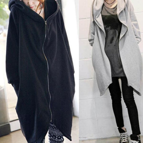 Zipper Loose Hoodies Coat with Pocket-Coat-PMS-Gray-one size-Gofiala