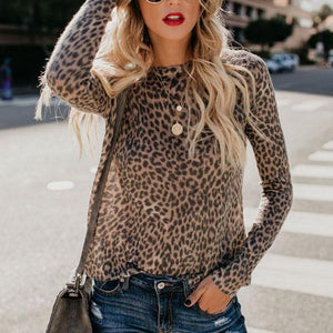 Round Neck Leopard T-Shirts-T-shirt-PMS-Brown Leopard Print-s-Gofiala
