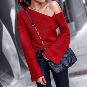 Autumn And Winter Fashion Shoulder Pure Long Sleeve Sweater-Sweater-PMS-Red-s-Gofiala