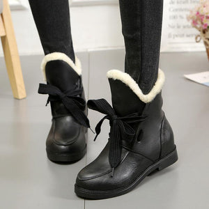 Winter Plus Warm Cotton Plush Design Casual Low Heel Snow Boots-Boot-PMS-Black-35-Gofiala