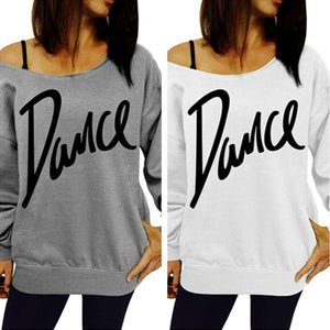 Off Shoulder Hoodies Letter Printed Sexy Top-Hoodie-PMS-Gray-s-Gofiala