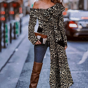 Sexy Fashion Strapless Leopard Print Long Sleeve Blouse-Blouse-PMS-Leopard Print-s-Gofiala