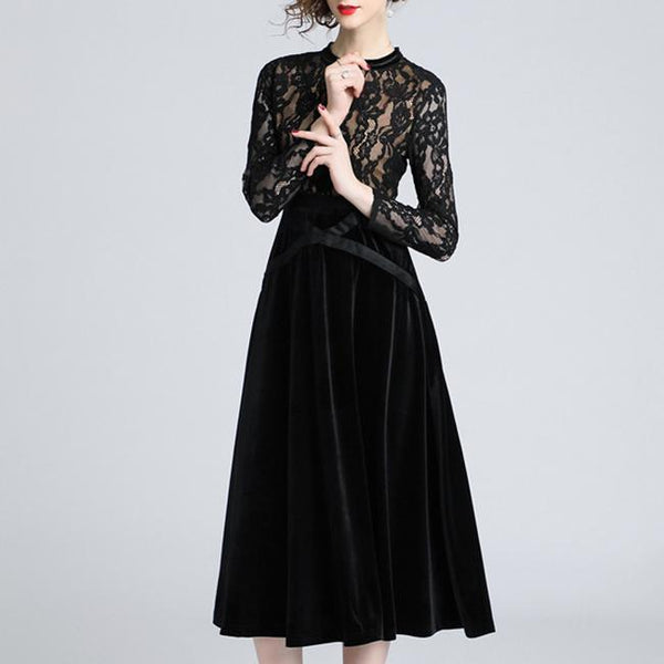 Black Hollow Out Lace Stitching Details Round Neck Velvet Dress-skater dress-PMS-Same As Photo-s-Gofiala