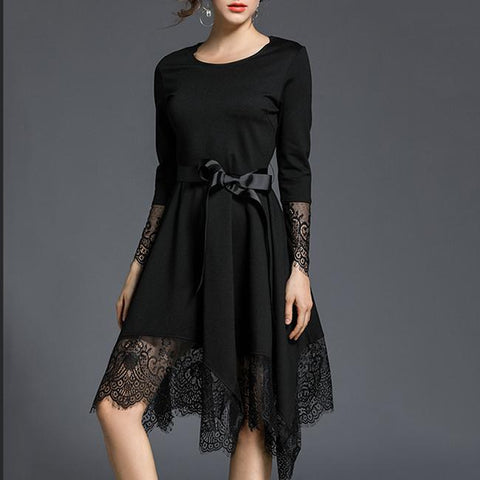 Black Elegant Lace Splicing Self-Tie Round Neck Irregular Hem Dress-skater dress-PMS-Black-s-Gofiala