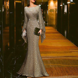 Elegant Silver Trumpet Sleeve Sexy Fishtail Evening Dress-Evening Dress-PMS-Gold-s-Gofiala