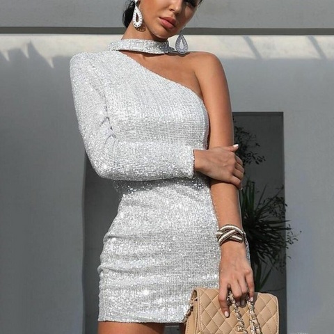 Fashion Sexy Shiny Asymmetric Strapless Evening Dress-Bodycon Dress-PMS-Silver-s-Gofiala