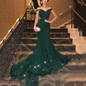 Off-The-Shoulder Sexy Sparkling Fishtail Evening Dress-Evening Dress & Maxi Dress-PMS-Green-s-Gofiala