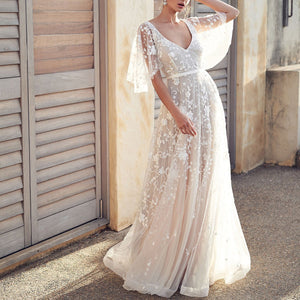 Fashion Lace V-Neck Halter Evening Maxi Dress-Evening Dress & Maxi Dress-PMS-White-s-Gofiala