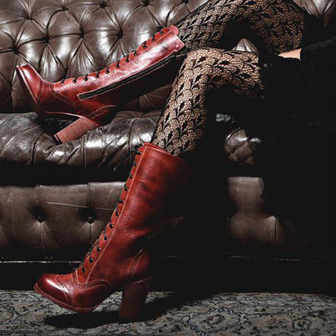 Fashion Women Winter Leather High Boots-Boot-PMS-Red-41-Gofiala