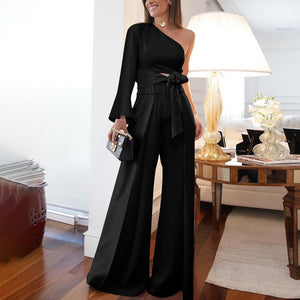 Fashion Pure Colour Off-Shoulder Jumpsuit-Jumpsuit-PMS-Black-l-Gofiala