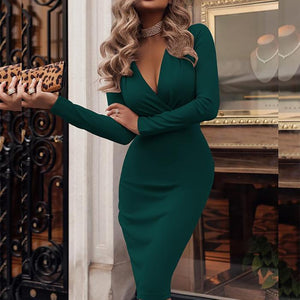 V-Neck Ruched Plain Bodycon Dress-Bodycon Dress-PMS-Green-s-Gofiala