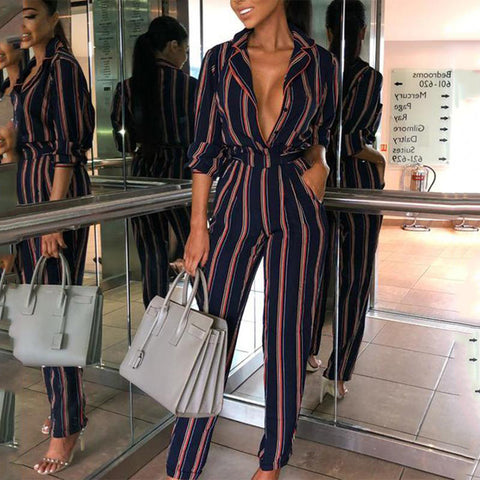 Fashion Striped Printed Colour V Neck Jumpsuits-Jumpsuit-PMS-Dark Blue-xl-Gofiala