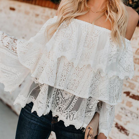 Casual Lace Pure Colour Off-Shoulder Shirt-T-shirt-PMS-White-s-Gofiala
