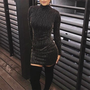 Fashion Sexy Show Thin Sparkling Crystal Mini Bodycon Dress-bodycon dress & evening dress-PMS-Black-s-Gofiala