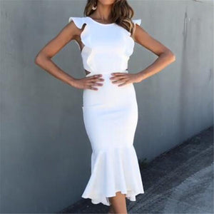 Fashion Sexy Irregular Flounce Dress-Bodycon Dress-PMS-White-m-Gofiala