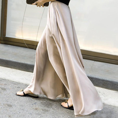Loose Satin Chiffon High Waist Slimming Vacation Casual Wide-Leg Trousers-Pant-PMS-Apricot-s-Gofiala